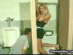 Shemale Gloryhole In The Mens Washroom
