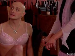Pretty girls dress bald guy up in lady clothes