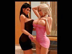 3D Beautiful Blond Shemale with sensual brunette