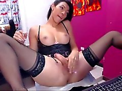 sexy shemale with stockings cums for you
